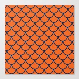 Orange & Blue Fish Scales Pattern Canvas Print