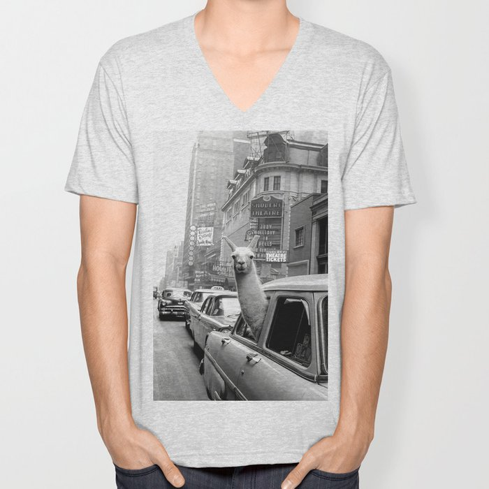 Llama Riding in Taxi, Black and White Vintage Print Unisex V-Neck