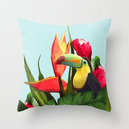 Toucan Tropical Banana Leaves Bouquet Throw Pillow