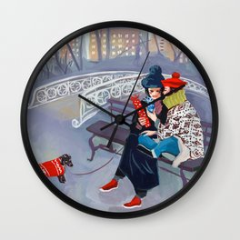 Exchanging Gifts in Central Park Wall Clock