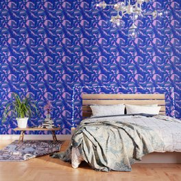 tropical banana leaves pattern,pink,blue Wallpaper