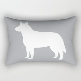 Australian Cattle Dog silhouette portrait dog pattern minimal grey and white Rectangular Pillow