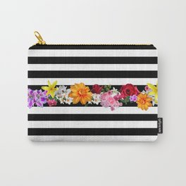 flowers on black and white stripes Carry-All Pouch