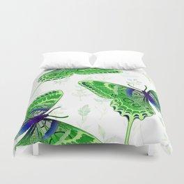 Beautiful Green Butterflies Flowers Garden Duvet Cover