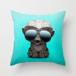 Cute Baby Honey Badger Wearing Sunglasses Throw Pillow