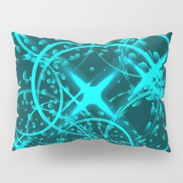 Metallic stars and rings in blue hues on shimmering background. Pillow Sham