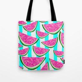 Watermelon Crush on Aqua and White Stripes Tote Bag