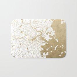 Boston White and Gold Map Bath Mat