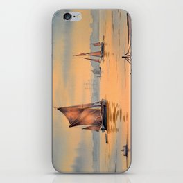 Barges On The River Thames Greenwich London iPhone Skin