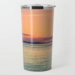 Pastel Sunset Calm Blue Water Travel Mug