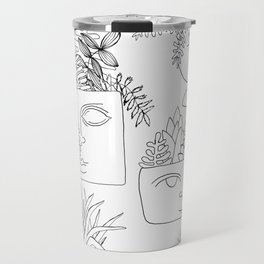 Illustrated Plant Faces in White Travel Mug