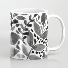 Watercolor branches and leaves - black and white Coffee Mug