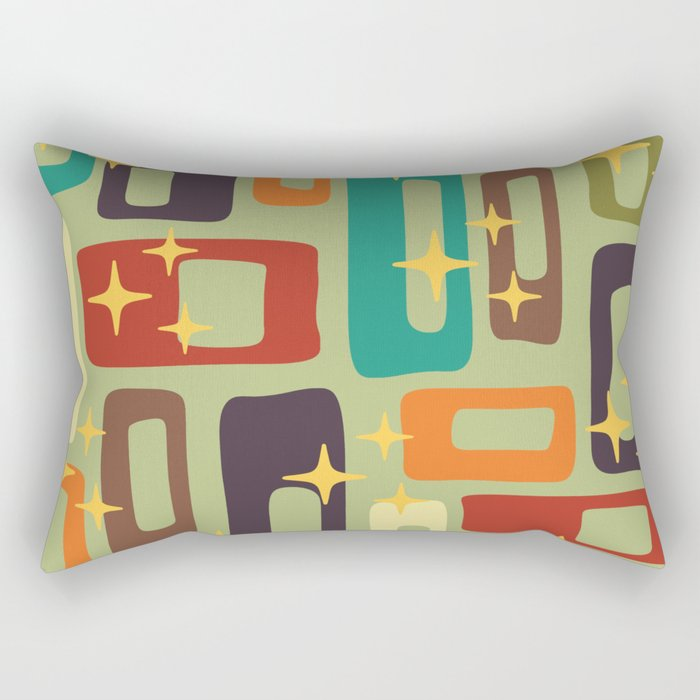 Retro Mid Century Modern Abstract Pattern 225 Rectangular Pillow