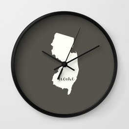 New Jersey is Home - White on Charcoal Wall Clock
