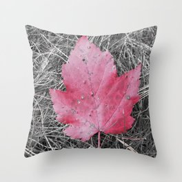 Oh Canada! Red Maple Leaf Throw Pillow