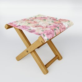 Flowers, Floral Explosion, Floral Pattern, Pink Flowers Folding Stool