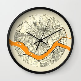 Seoul Map Moon Wall Clock