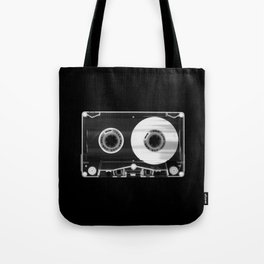 Black and White Retro 80's Cassette Vintage Eighties Technology Art Print Wall Decor from 1980's Tote Bag