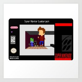 Super Hipster lumberjack SNES Cartridge label Art Print
