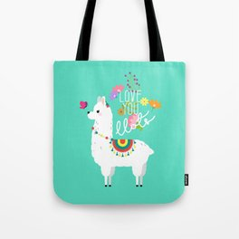 Floral llama with butterfly Tote Bag