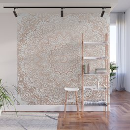 Mandala - rose gold and white marble 3 Wall Mural