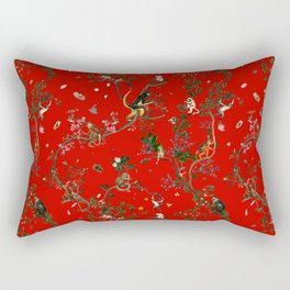 Monkey World Red Rectangular Pillow