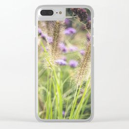 Wild ears and purple wild flowers Clear iPhone Case