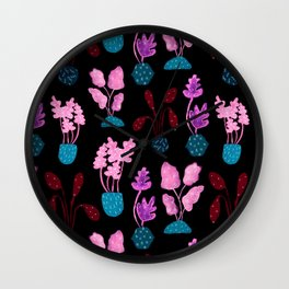 Painted Postmodern Potted Plants in Black Wall Clock