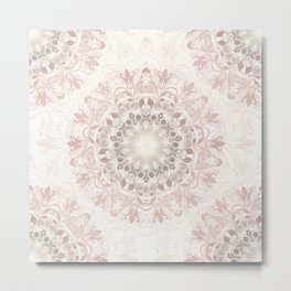 Floral Ombre Beige Mandala Metal Print