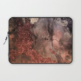 Copper Glitter Stone and Ink Abstract Gem Glamour Marble Laptop Sleeve