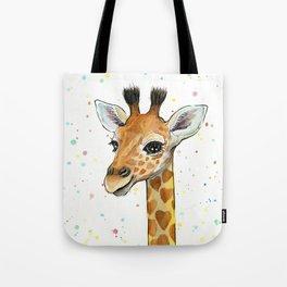 Giraffe Baby Animal with Hearts Watercolor Tote Bag