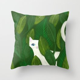 Jungle Cat white cat in leaves artwork by Tascha Throw Pillow