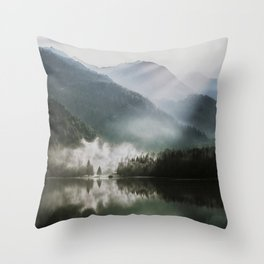 Dreamlike Morning at the Lake - Nature Forest Mountain Photography Throw Pillow