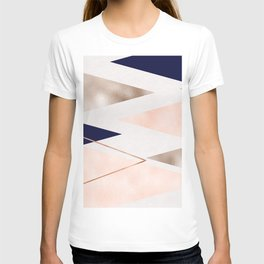 Rose gold french navy geometric T-shirt