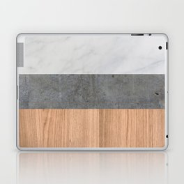 Carrara Marble, Concrete, and Teak Wood Abstract Laptop & iPad Skin
