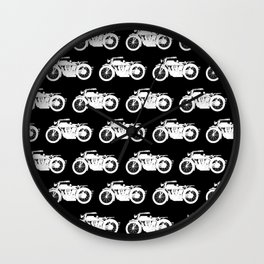 Antique Motorcycles on Black Wall Clock