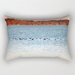 American Coots Crossing Lake Rectangular Pillow