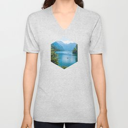 Germany, Malerblick, Koenigssee Lake III- Mountain Forest Europe Unisex V-Neck