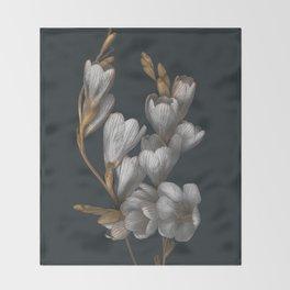 Night Flowers Throw Blanket
