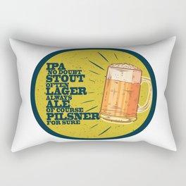 Beer always, vintage poster, circle, yellow Rectangular Pillow
