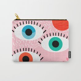 Noob - eyes memphis retro throwback 1980s 80s style neon art print pop art retro vintage minimal Carry-All Pouch