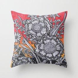 Floral Sunset Throw Pillow