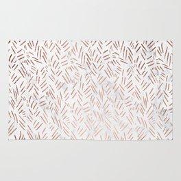 Modern rose gold brushstrokes dots confetti geometric pattern on white marble Rug