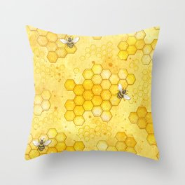 Meant to Bee - Honey Bees Pattern Throw Pillow
