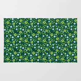 Green and blue meadow pattern Rug