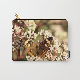 Buckeye Butterfly On Pale Pink Flowers Carry-All Pouch
