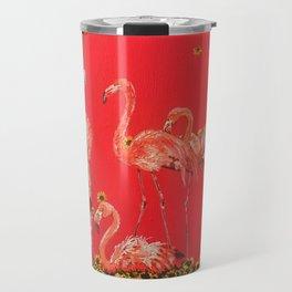 Sunning Flamingos Travel Mug