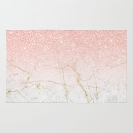 Rose Gold Glitter and gold white Marble Rug