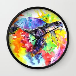 Sea Turtle in Coral Reef Wall Clock