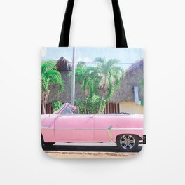 Pink Vintage Car in Havana Tote Bag